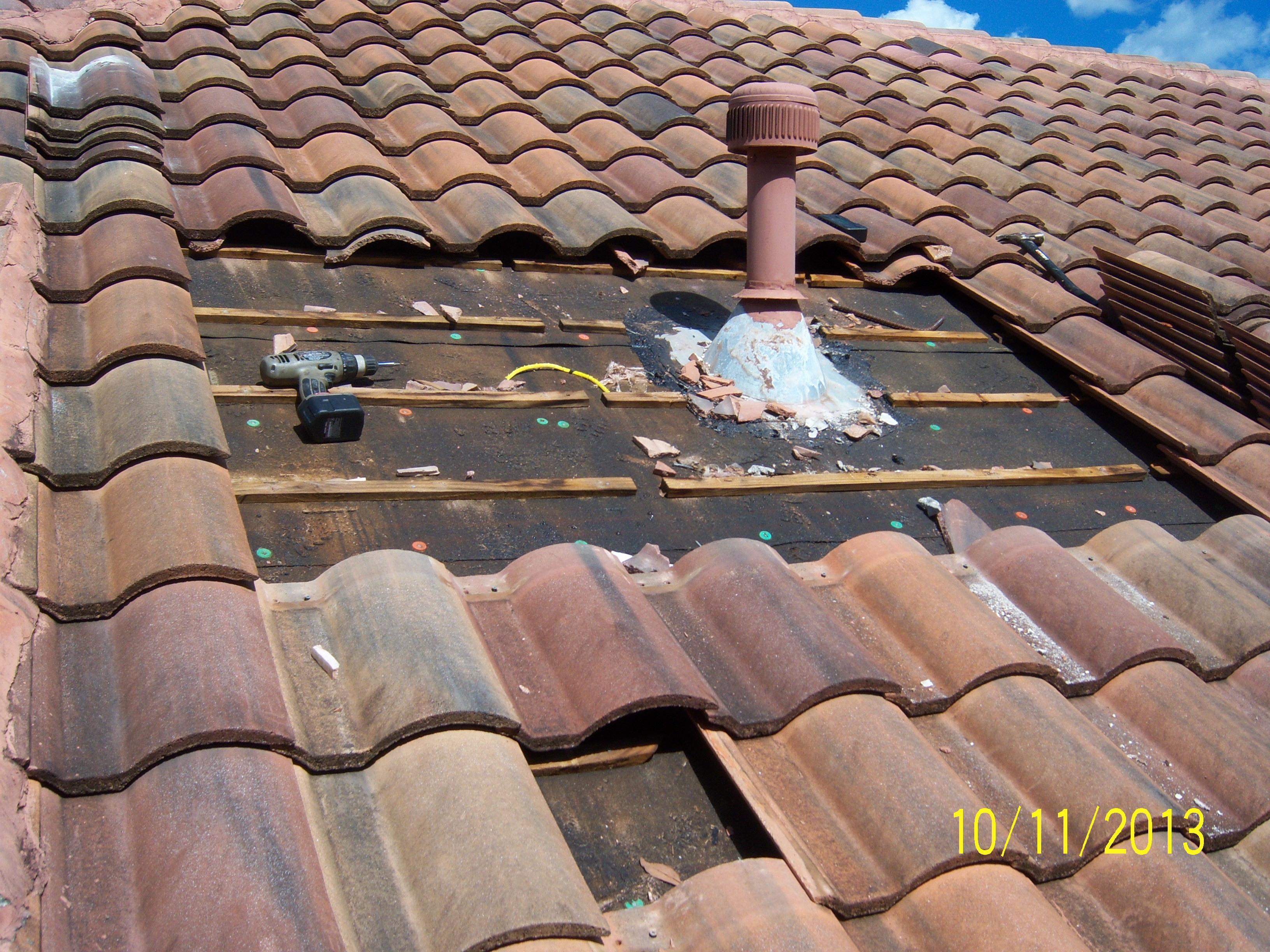 Tile Roof Repair U2013 Leak At Gas Pipe