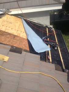 AFTER NEW LUMBER IS INSTALLED WE DRY IN WITH A HIGH GRADE  PEEL AND STICK UNDERLAYMENT