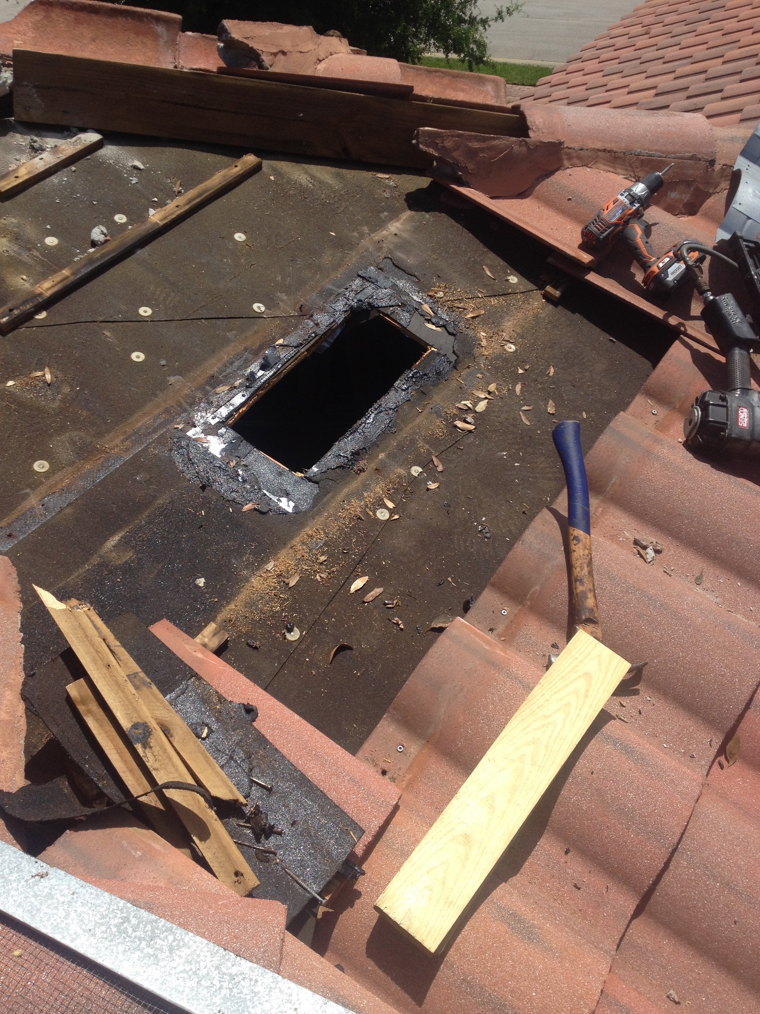 Leaking tile vent repaired - Roof air vent leaking water ...