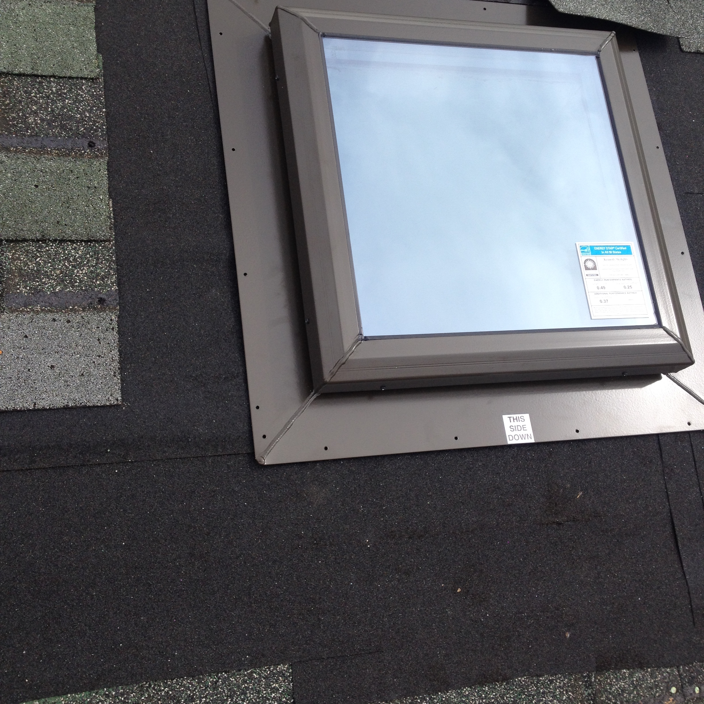 Leaking Plastic Skylight Replaced With New Glass Skylight